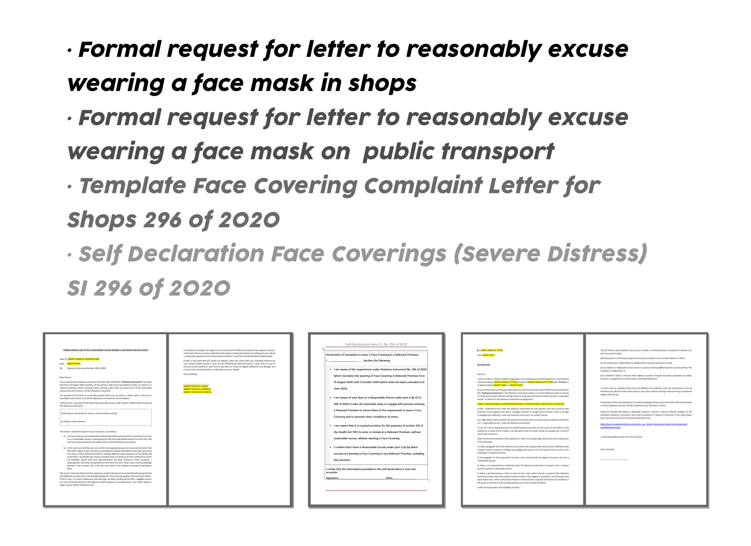 FACE COVERINGS EXEMPTION FORMS – IRELAND
